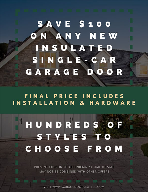 Save $100 on New Single-Car Garage Doors